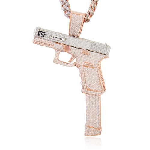 Rose gold fully flooded diamond glizzy gang gun pendant shyne image 1 aloadofball Image collections