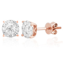14k Rose Gold .75ct Diamond Studs