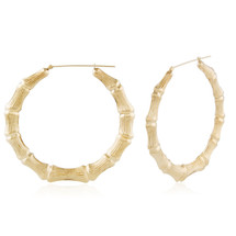 14k Yellow Gold Large Bamboo Hoops