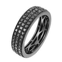 10k Black Gold 2.85ct Black Diamond Wedding Band