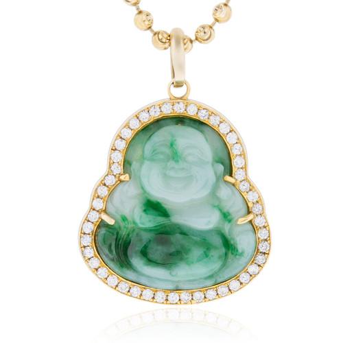 10k yellow gold 1ct diamond jade buddha pendant shyne jewelers jade buddha pendant image 1 mozeypictures Images