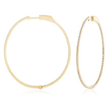 14k Yellow Gold 1.05ct Diamond Hoop Earrings