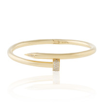 18k Yellow Gold .50ct Diamond Nail Bracelet