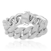 14K White Gold 45ct Diamond Cuban Link Bracelet
