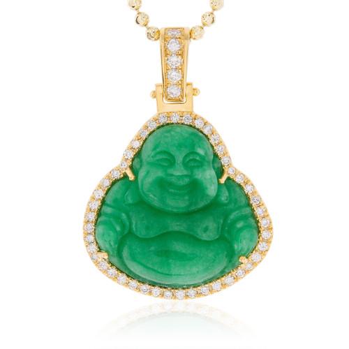 14k yellow gold 15ct diamond jade buddha pendant shyne jewelers jade buddha pendant image 1 aloadofball Gallery