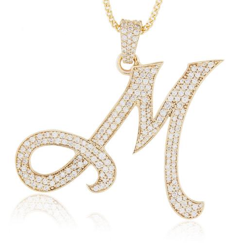 10k yellow gold diamond initial pendant shyne jewelers diamond initial pendant image 1 aloadofball Images