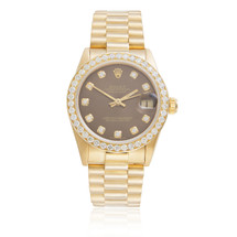 Rolex DateJust 18k Yellow Gold President 2.5ct Diamond Bezel Automatic Women's Watch