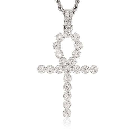 14k white gold 410ct large diamond ankh pendant shyne jewelers image 1 mozeypictures Image collections