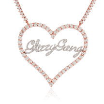 14k Rose Gold Custom Diamond Heart Necklace