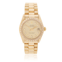 Rolex Lady-DateJust 18K Yellow Gold President 1.5ct Diamond Bezel Automatic Women's Watch