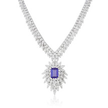 18k White Gold 9.47ct Diamond Tanzanite Necklace