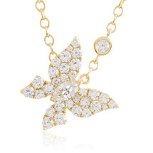 18k Yellow Gold 1.14ct Diamond Butterfly Necklace