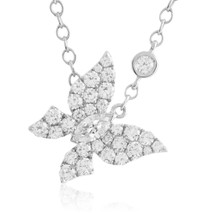 18k White Gold 1.17ct Diamond Butterfly Necklace