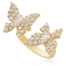 18k Yellow Gold 2.18ct Diamond Butterfly Ring