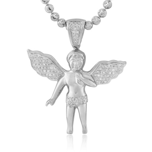 10k white gold 20ct diamond angel pendant shyne jewelers 10k white gold 20ct diamond angel pendant image 1 aloadofball Image collections