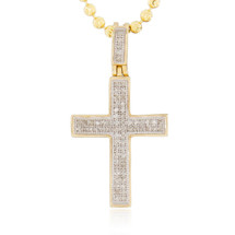 10k Yellow Gold .22ct Diamond Cross Pendant Front