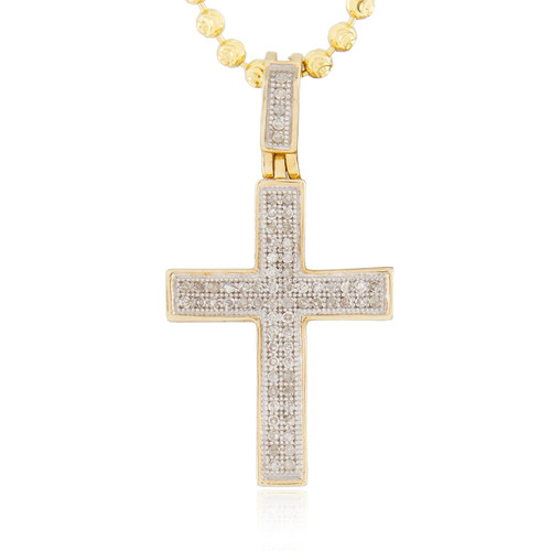 Mens 10k yellow gold 22ct diamond cross pendant shyne jewelers 10k yellow gold 22ct diamond cross pendant front mozeypictures Gallery