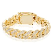 10K Yellow Gold 9.25ct Diamond Cuban Link Bracelet
