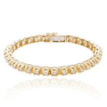 14k Yellow Gold 6.67ct Diamond Prong Set Bracelet