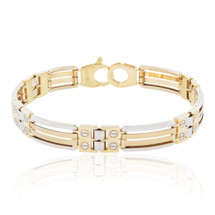 14k Two-Tone Double Solid Gold Bracelet