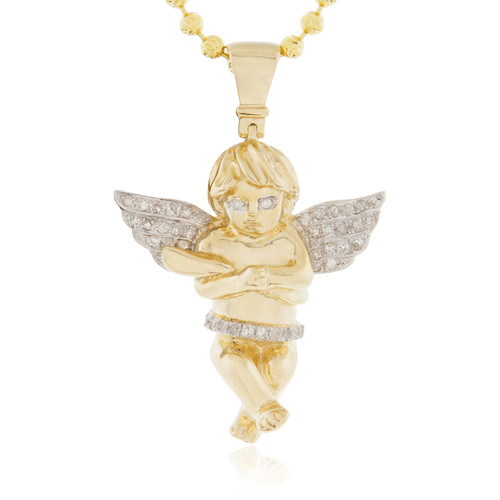 10k yellow gold 20ct diamond cherub angel pendant shyne jewelers 10k yellow gold 20ct diamond cherub angel pendant white round diamonds aloadofball Image collections
