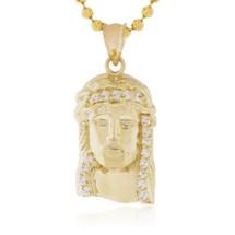 10k Yellow Gold Sapphire Micro Jesus Head Pendant