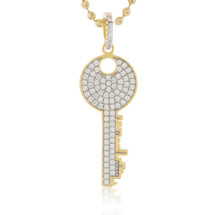 Yellow Sterling Silver Sapphire Crystal Round Key Pendant