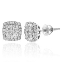 14K White Gold .65ct Square Diamond Stud Earrings