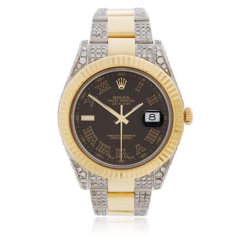rolex datejust ii 18k gold 7 8ct diamond automatic men s watch