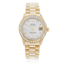 Rolex Lady-DateJust 18K Yellow Gold President 2.5ct Diamond Bezel Automatic Women's Watch