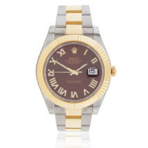 Rolex DateJust II 18k Gold Two-Tone Maroon Dial Automatic Men's Watch 116333 Bezel Crown Front View