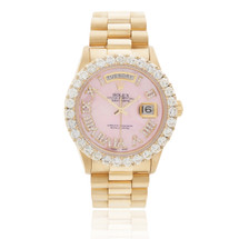 Rolex Day-Date 18K Yellow Gold President Pink Mother of Pearl 5ct Diamond Bezel Automatic Men's Watch 18038 Bezel Dial Crown Front View