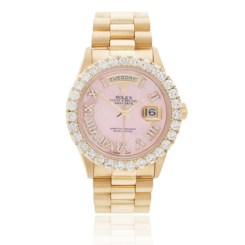 Rolex Day Date 18k Yellow Gold President Pink Mother Of