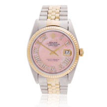 Rolex DateJust 36 Two-Tone Pink Mother of Pearl Automatic Men's Watch 116231 Front Bezel Crown Case Dial View