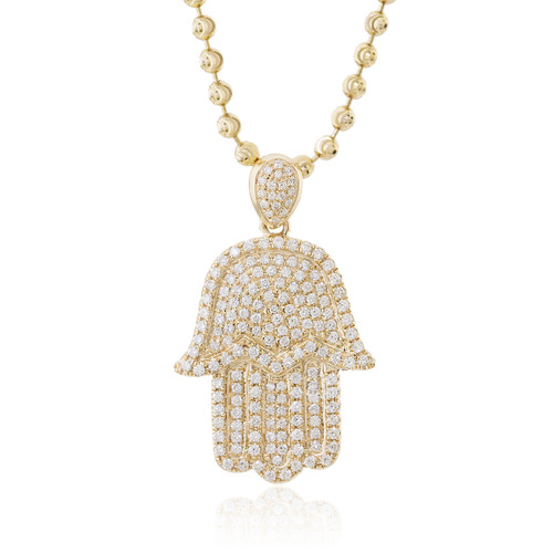 hamsa gold pendant pendants see front through diamond yg
