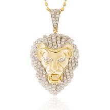 10k Yellow Gold 4.70ct Lion's Head Pendant