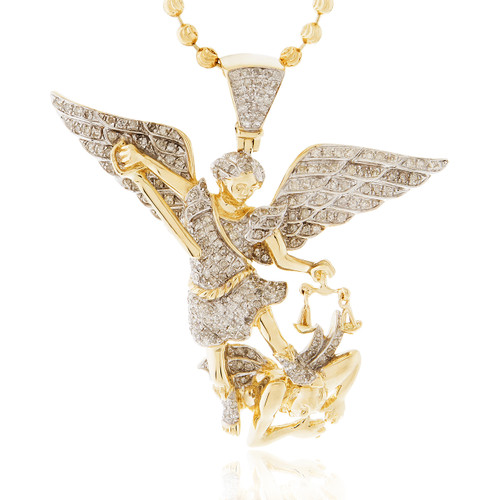 14k yellow gold 126ct diamond archangel michael pendant shyne image 1 aloadofball Images