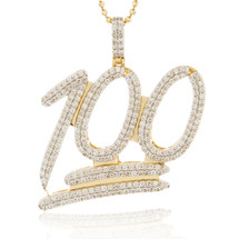 10k Yellow Gold 5.25ct Diamond 100 Pendant On Chain