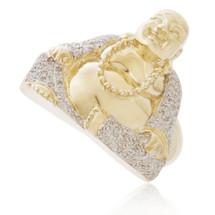 10k Yellow Gold .60ct Diamond Buddha Ring