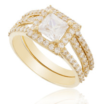 14K Yellow Gold Crystal Sapphire Engagement Ring Set