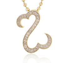14k Yellow Gold .50ct Diamond Double Heart Pendant