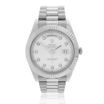 Rolex Day-Date II 18k White Gold President Automatic Men's Watch 218239 Front View Straight On Bezel