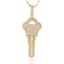 14k Yellow Gold 2.00ct Diamond Key Pendant