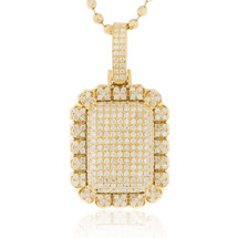 14k Yellow Gold 2.52ct Diamond Dog Tag Pendant