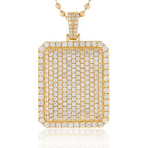 14k Yellow Gold 6.45ct Diamond Dog Tag Pendant