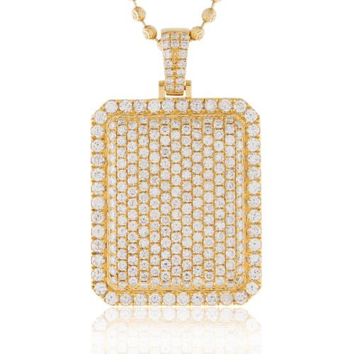 14k yellow gold 645ct diamond dog tag pendant shyne jewelers diamond dog tag pendant image 1 mozeypictures Images