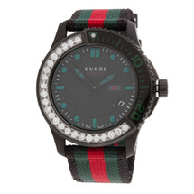 Gucci G-Timeless Watch with Half Diamond Bezel Front