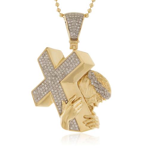 14k yellow gold 102ct diamond jesus cross pendant shyne jewelers 14k yellow gold 102ct diamond jesus cross pendant front mozeypictures Gallery