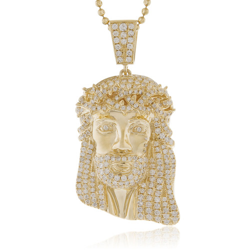 14k yellow gold 285ct diamond jesus head pendant shyne jewelers jesus head pendant image 1 aloadofball Choice Image