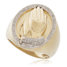 10k Yellow Gold .26ct Diamond Prayer Hands Ring